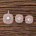 Brass Cubic Zircone Rose Gold Plated Cz Classic Pendant Set 405558