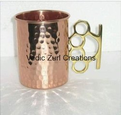 CU-22 Copper Hammered Glass With Brass Handle