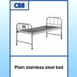 Powder Coated Plain Stainless Steel Bed, Single, for Hospital