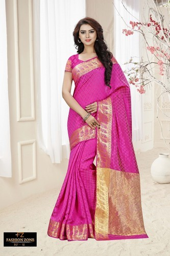 Printed & Embroidered Wedding Wear And Casual Wear Pink Cotton Silk Designer Saree
