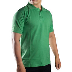 Solid Polo Type Green Collar T-Shirt