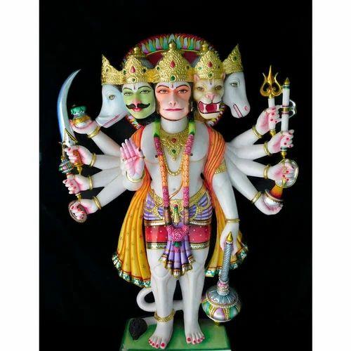 Jaipurcrafts Multicolor Marble Panchmukhi Hanuman Statue, Size: 15'