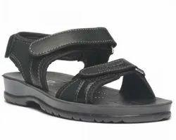 Paragon Boys Black P-toes Casual Sandals