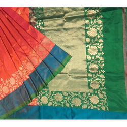 Banarasi Silk Handloom Saree, Length: 6 m
