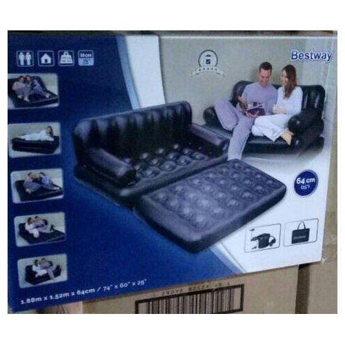 Plastic Black Bestway 5 In 1 Inflatable Sofa Air Bed Couch