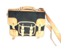 Black Canvas Leather Shoulder Bag