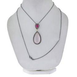 Chic Designs Black Rose Quartz Gemstone Pendant Necklace