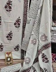 Hand Block Printed Cotton Dupatta Suit Set