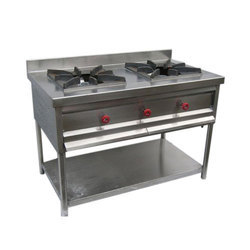 Polished Commercial Stainless Steel Two Burner