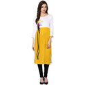 Yellow And White Party Wear Rayon Embroidered Kurti, Size: S, M, L & Xxl