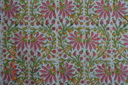 Hand Block Printed Cotton Floral Printed Fabric Indian Printed