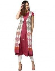 Women Pink Ethnic Motifs A-Line Cotton Flex Kurta with Ethnic Jacket