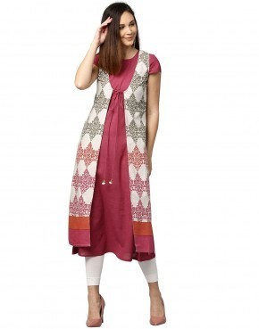 Cotton Pink A Line Flex Kurta With Ethnic Jacket Rs 735 Piece Id