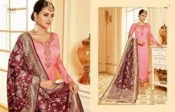 Satin georgette embroidery work suits