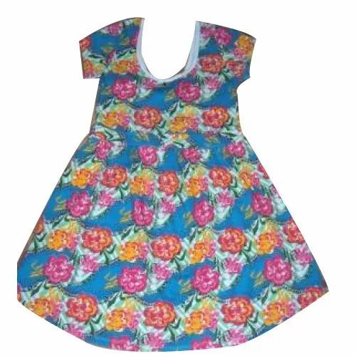d8deb7e8ab65 Cotton Casual Wear Kids Girl Flower Printed Frock