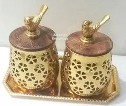 Decorative Metal Dry Fruit Container With Tray