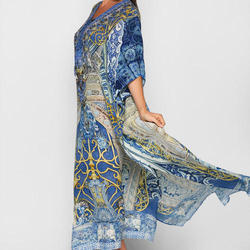 Digital Printed Lace-up Kaftan