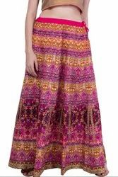 Rani Pink Art Silk Readymade Skirt