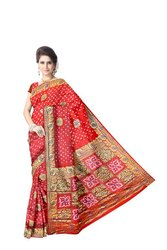 All Over Red Color Hand Work Design Art Silk Bandhani Saree