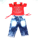 Kids Girls Cold Shoulder Top and Jeans
