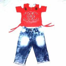 Cotton And Denim Regular Wear Kids Girls Jeans And Cold Shoulder Top