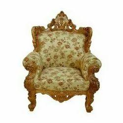 Royal Designer Wooden Carved Chair, Finish: Polished