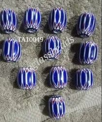 Hand Beaded Frosted Chevron Beads