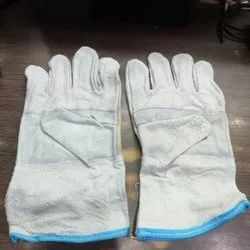 White Leather Hand Gloves, For Industrial, Size: Medium