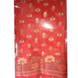 Party Wear Ladies Red Chiffon Silk Saree, With Blouse Piece