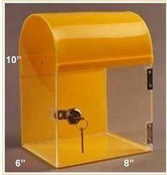 Acrylic Top Round Suggestion Box, Size: 10 X 8 X 6 Inch
