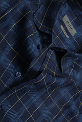 Navy Big Checks Short Sleeve Linen Shirt