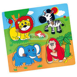Wooden Flat Puzzle - Wild Animals