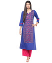 Jaipur Kurti 3/4th Sleeves Embroidered Cotton Kurti, Size: Medium And Large