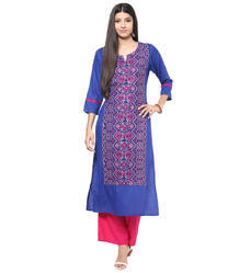 3/4th Sleeves Embroidered Cotton Kurti, Size: S - XL