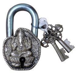 Pad Locks Have Ganesha Sculpture Antique Finish Brass Metal Pad Lock