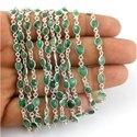 Natural Emerald Sterling Silver Bezel Connector Chains