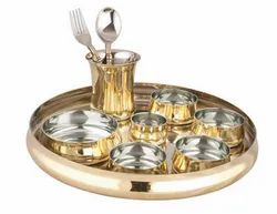 copper Stainless Steel Brass Thali Set, Packaging Type: Packet, Round