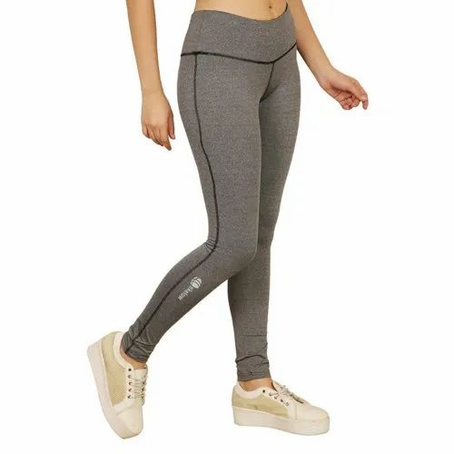 Gray Casual Wear Ladies 4 Way Lycra Yoga Pants, Size: 28 To 36