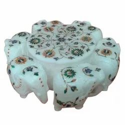 Indoor Round Decorative Printed Marble Handicraft, For Home, Size: 6-12