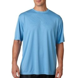 Blue Cotton Mens Plain Polyester T Shirt