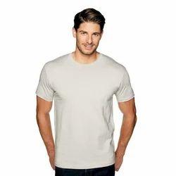 White Plain Mens Cotton Casual T Shirts