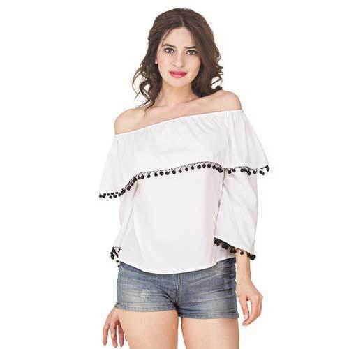 2fe76eec1011a White Ladies Frill Off Shoulder Top