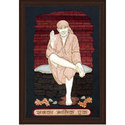 Sai Baba Wood Carving Frame, Size: 10 X 14 Inches