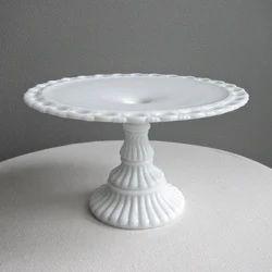 White Marble Cake Stand, Shape: Round