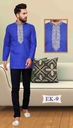 Men Short Embroidered Cotton Kurtas