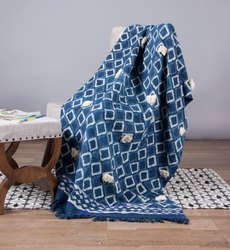 Indigo Printed Blue Cotton Mud Cloth Sofa Throw