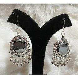 Round Stone Silver Earrings