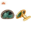 925 Silver Pave Diamond and Emerald Gemstone Cufflinks