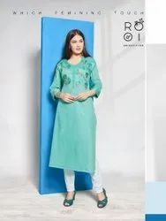 Rayon Satin Embroidered Kurti