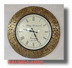 Vintage Clock With Old Indian Coins